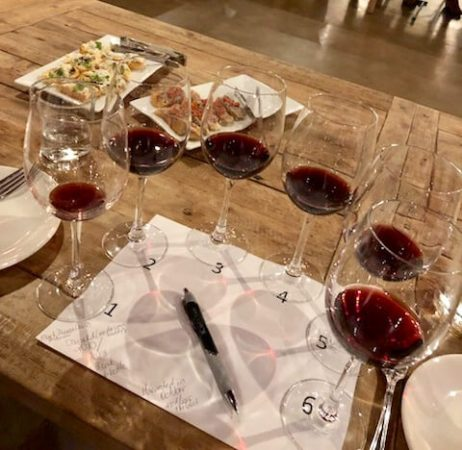 Glasses of Duchman Aglianico set for the tasting – Vintages 2010 through 2015