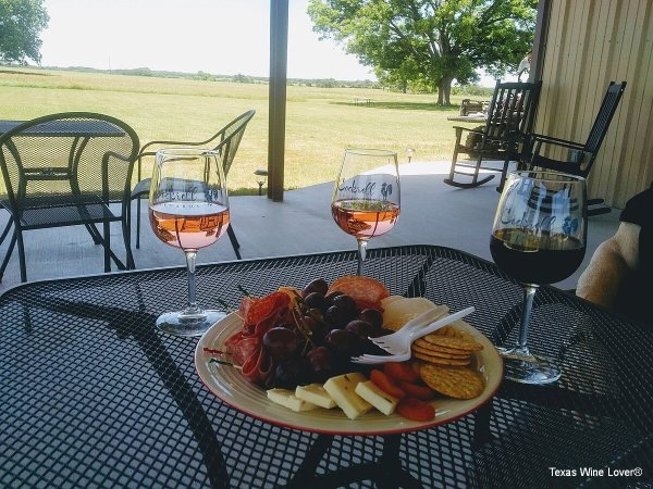 On the patio of Cockrell Vineyards