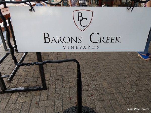 Barons Creek Wine Room outside sign