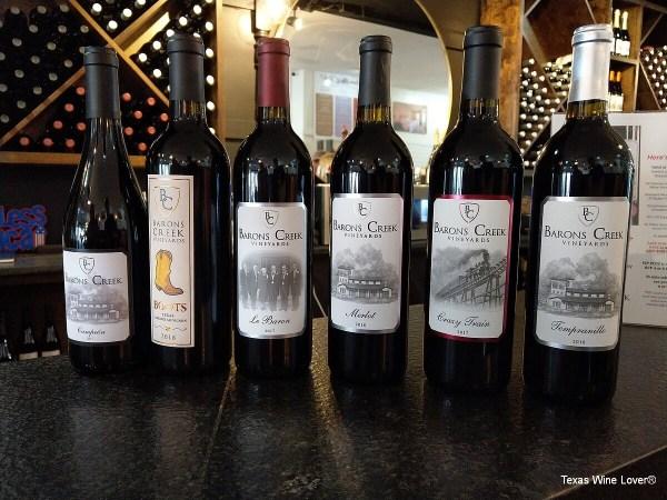 Barons Creek Wine Room wines