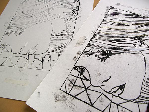 転写版画。レッサーパンダが描いていた制作途中の過去作品です。