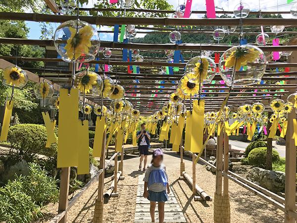 レッサーパンダが一番気に入った「黄色の風鈴」コーナー。中の黄色は向日葵です。