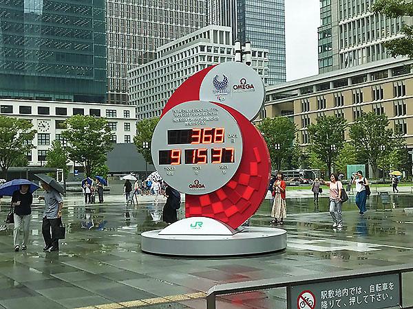 丸の内に設置されたオリンピックのカウントダウン時計。こうしてみるとオリンピックまでもう1年しかないのですね。関西に住むレッサーパンダにはあまり実感がわきません。