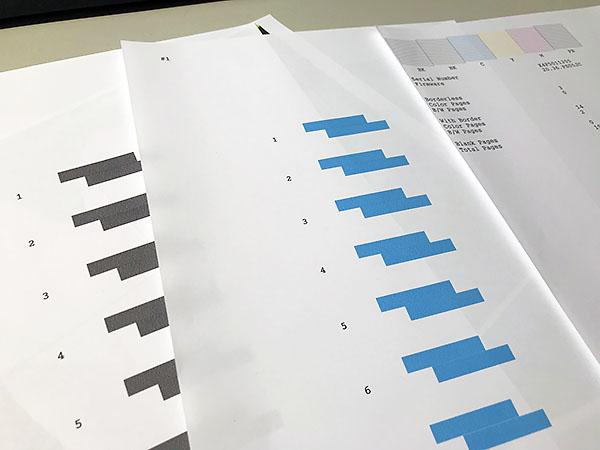 7通りの印刷位置。試し刷りの中から線が目立たない番号を選びプリンターに入力。