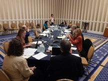 TYCA Executive Board Meeting in Washington, DC, November 2014. F-B, clockwise: Andy Anderson (Chair), Eva Payne (Associate Chair). Sarah Z. Johnson (Secretary), Jeff Sommers (TETCY Editor), Judy Angona (Northeast), Sravani Banerjee (Pacific Coast/ECCTYC), Joyce Locke Carter (CCCC), Linda Walters-Moore (TYCA Administrative Liaison), Suzanne Labadie (Midwest), Alexis Nelson (Pacific Northwest), Cheryl Hogue Smith (Incoming Secretary), David Lydic (Southwest), and Beverly Fatheree (Southeast)