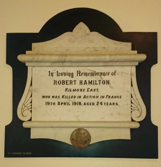 Plaque to Robert Hamilton in St Dympna's Ballinode Photo: @ Michael Fisher