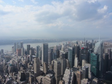 View overlooking Manahattan from the Empire State Building observation deck on the 86th floor