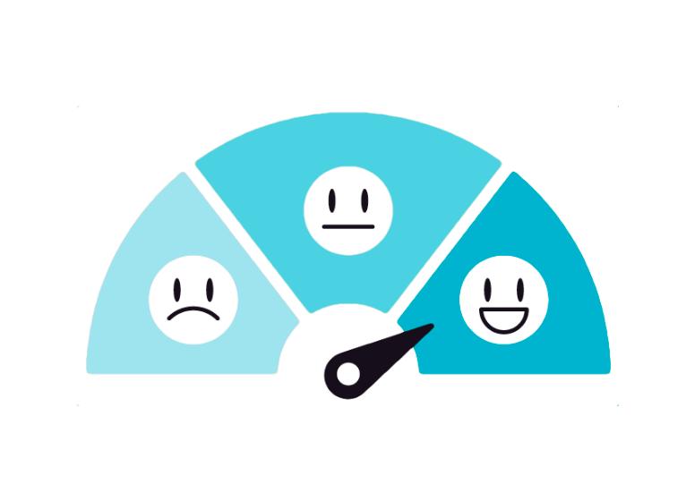 Mittaristo, jossa kolme hymynaamaa sinisellä pohjalla. Vasemmalla surullinen, keskellä tyytyväinen ja oikealla iloinen, jota mittariston nuoli osoittaa.