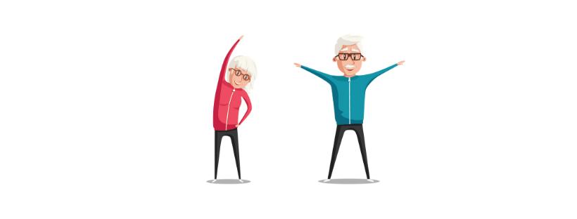 Piirretyt harmaahiuksiset mies ja nainen verryttelypuvuissa