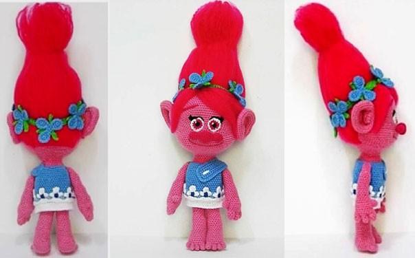 Вязаная кукла Пеппи-розочка. Описание