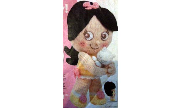 Вязаная кукла Тутти с котенком. Описание