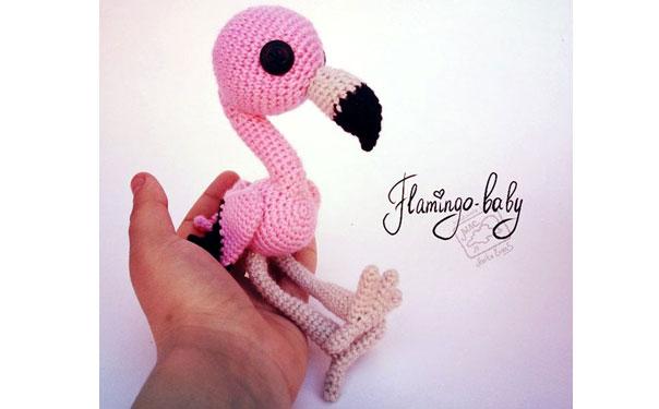 Вязаный розовый фламинго. Схема