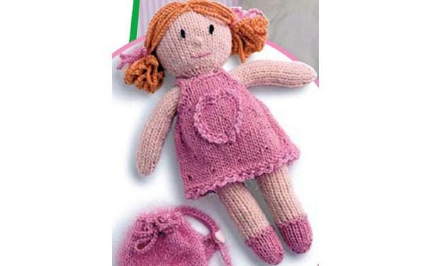 Кукла в розовом платье с сумочкой. Описание