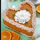 Вязаный торт-сердечко. Крючком. Схема