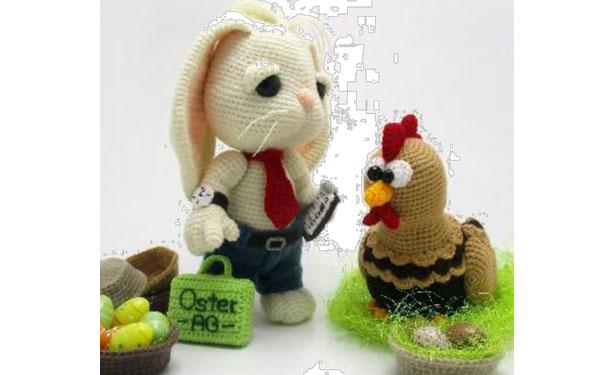 Вязаные заяц и курочка. Схема