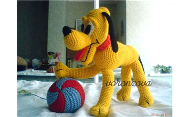 Вязаная собака Плуто. Схема