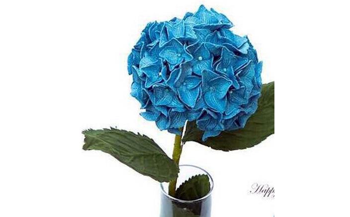 Вязаный цветок. Голубая гортензия. Схема
