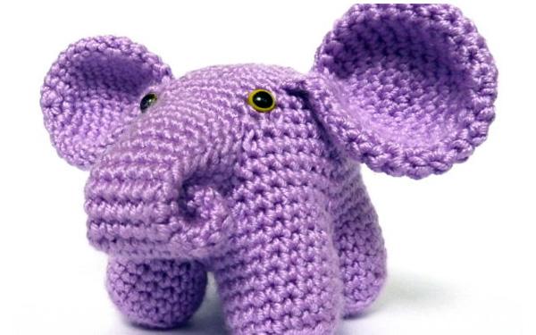 Вязаный крючком сиреневый слон. Схема