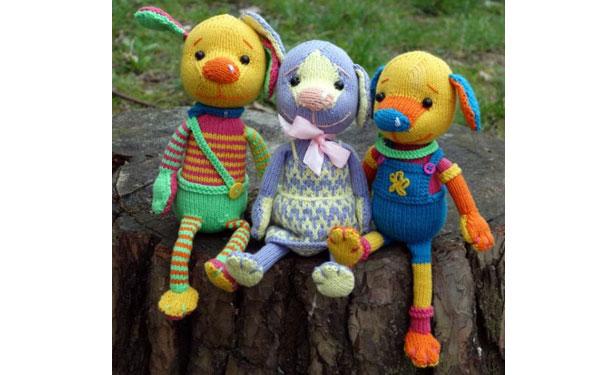 Вязаные разноцветные щенки. Схема