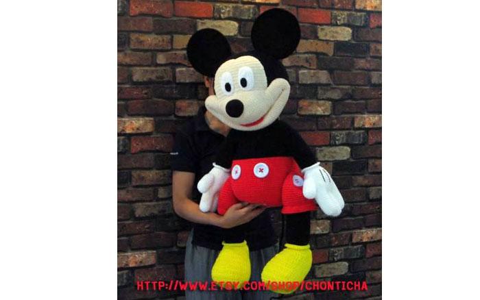 Вязаная мышьМикки Маус гигантского размера. Схема
