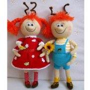 Вязаные куколки Муравьишки. Спицами