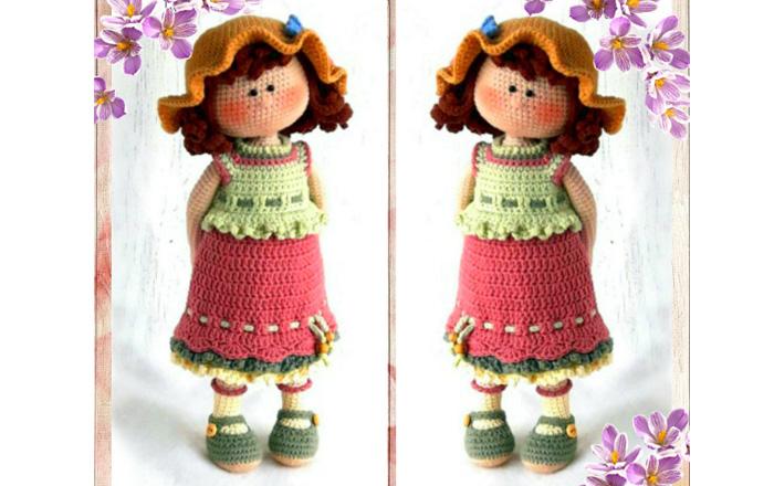 Вязаная кукла Дороти - красивая девчонка. Схема