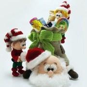 Вязаные Санта, эльф и мешок