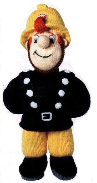 Вязаная кукла Пожарник Сэм. Спицами