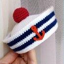 Вязаная шапка Морячки для куклы. Мастер-класс