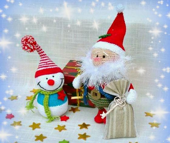 Вязаный Санта Клаус в очках. Мастер-класс