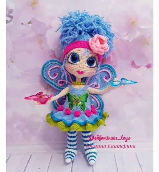 Вязаная крючком кукла Бабочка. Мастер-класс
