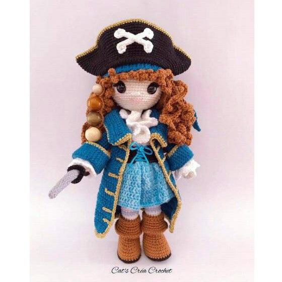 Вязаная крючком кукла пиратка Перл