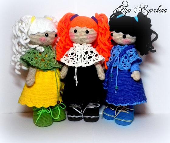 Вязаная крючком кукла Девочка с хвостиками