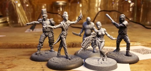 Batman Miniature Game Joker Band and Infinity Nomad Securitat primed.
