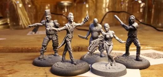 Batman Miniature Game Joker Band and Infinity Nomad Securitat primed.
