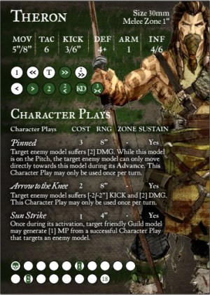 Guild Ball Theron Player Card. Copyright Steamforged Games Ltd