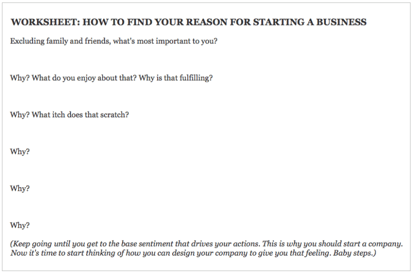 WORKSHEET - Why do you really want to start a business