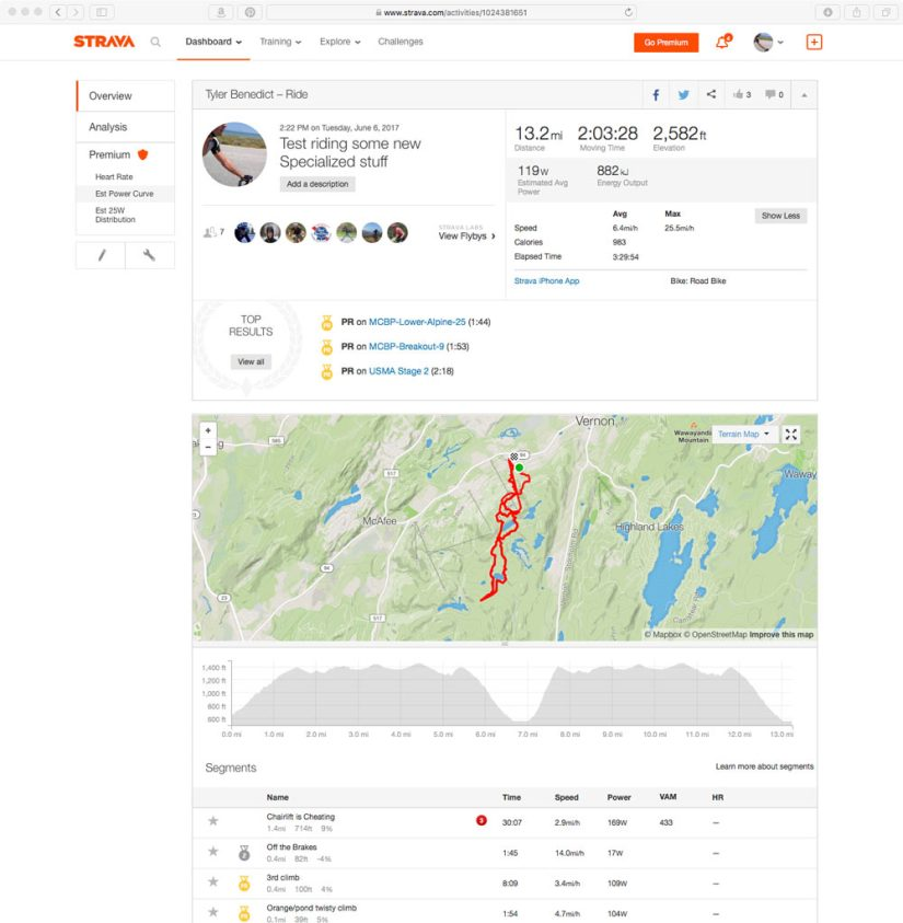 Strava dashboard screenshot