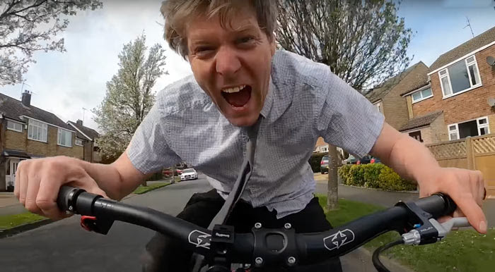 colin furze riding a bicycle he made out of hydraulic pistons