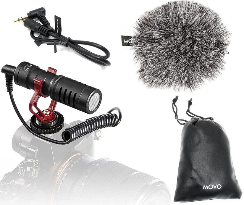 movo vrx10 mini shotgun mic for cameras and smartphones
