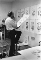 Richard Hamilton examining progressive proofs for his 11 colour 'Flower Piece, B' print, Tyler Graphics Ltd., Bedford Village, New York, 1976
