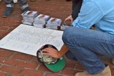 Rodrigo Valdes packing the donations tight