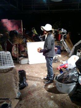 Kris rehearsing a scene