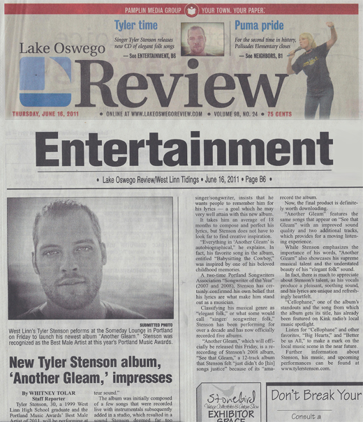 Lake Oswego Review -- Tyler Stenson 06/16/2011