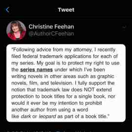 (UPDATED) An open letter to Christine Feehan.