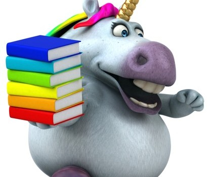 Sparkles the Unicorn carrying books and running.