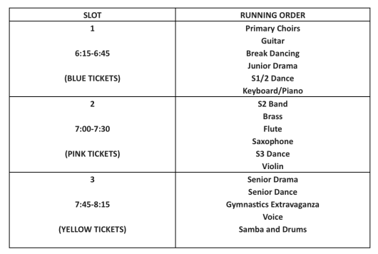 Performance Showcase Running Order