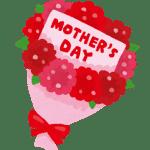 「Mother's Day」カードが入った花束のイラスト