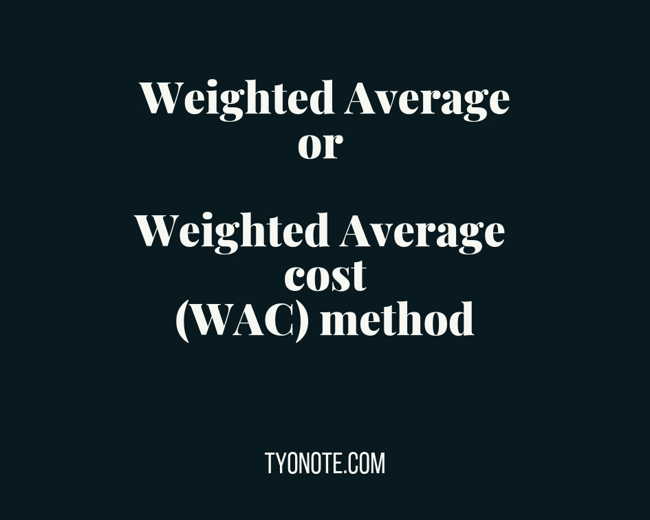 weighted average cost (WAC) method weighted average method