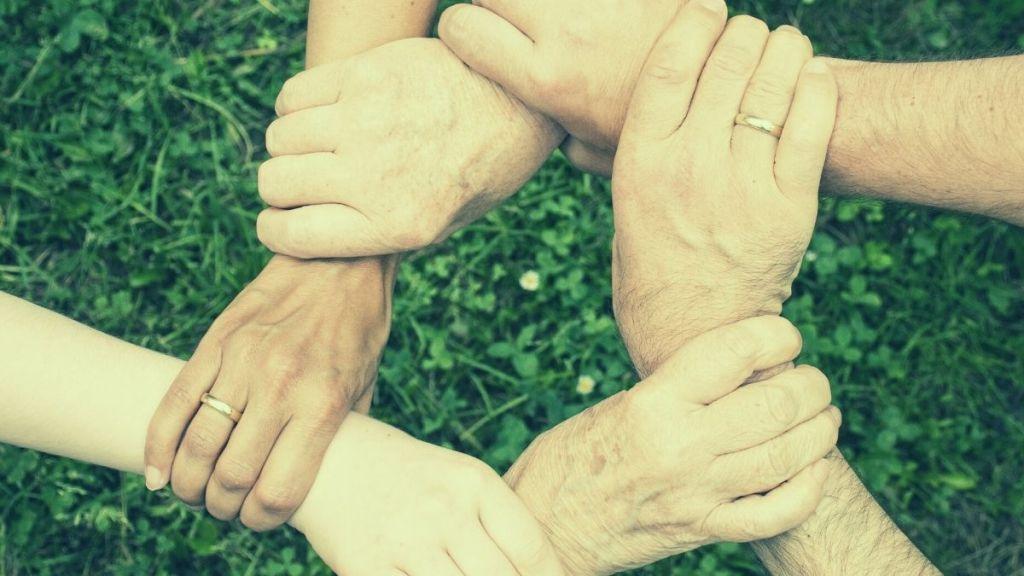 a team hands